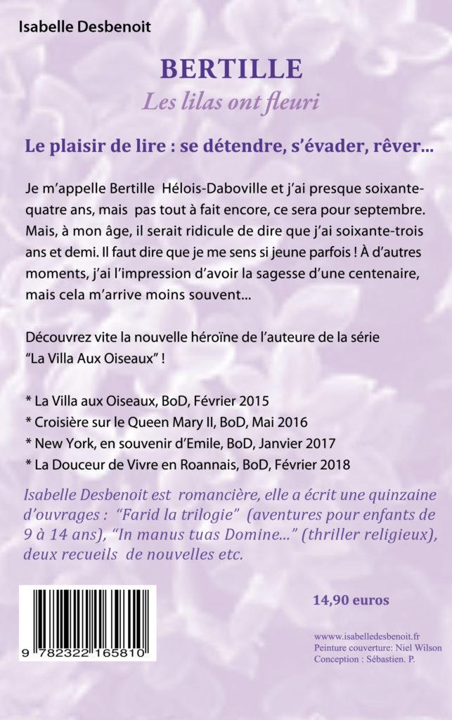 Quatrième de couverture Bertille les lilas ont fleuri par Isabelle Desbenoit