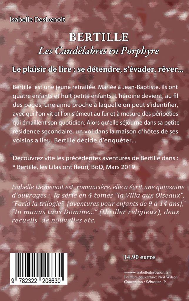 quatrième de couverture livre Isabelle Desbenoit  : BERTILLE, Les Candélabres en Porphyre